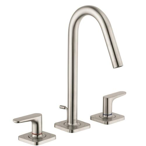 Brushed Nickel 3-hole basin mixer 160 with lever handles, escutcheons and pop-up waste set
