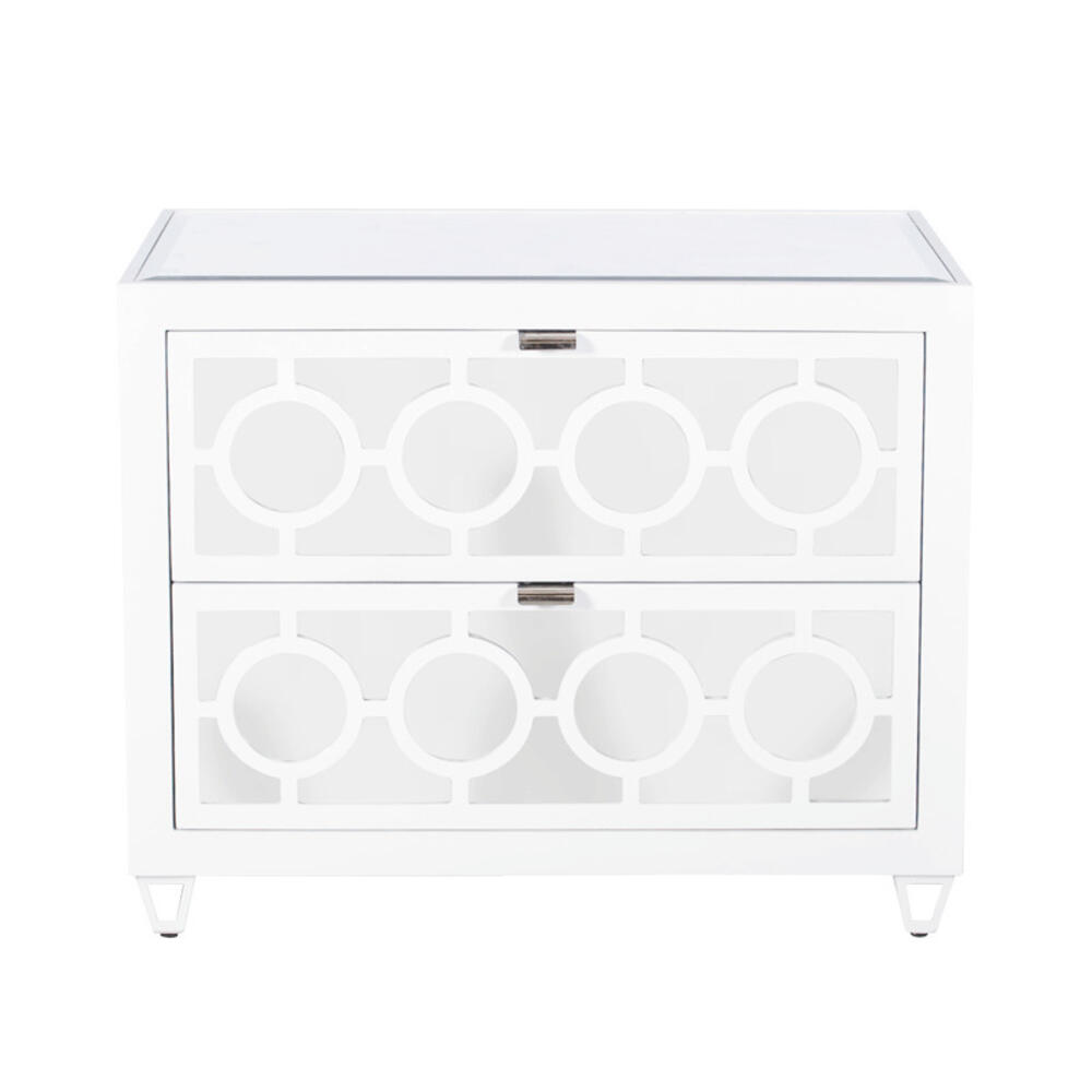 White Lacquer and Mirror 2 Drawer Side Table W. Inset Beveled Mirror Top. All Drawers On Glides.