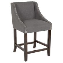 """24"""" High Transitional Walnut Counter Height Stool with Accent Nail Trim in Dark Gray Fabric"""