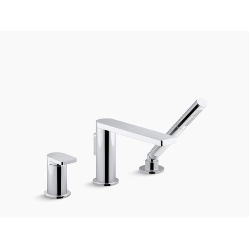 Vibrant Titanium Single-handle Deck-mount Bath Faucet With Handshower