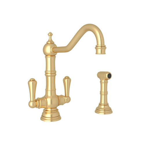 Edwardian Single Hole Kitchen Faucet with Lever Handles and Sidespray - Satin English Gold with Metal Lever Handle