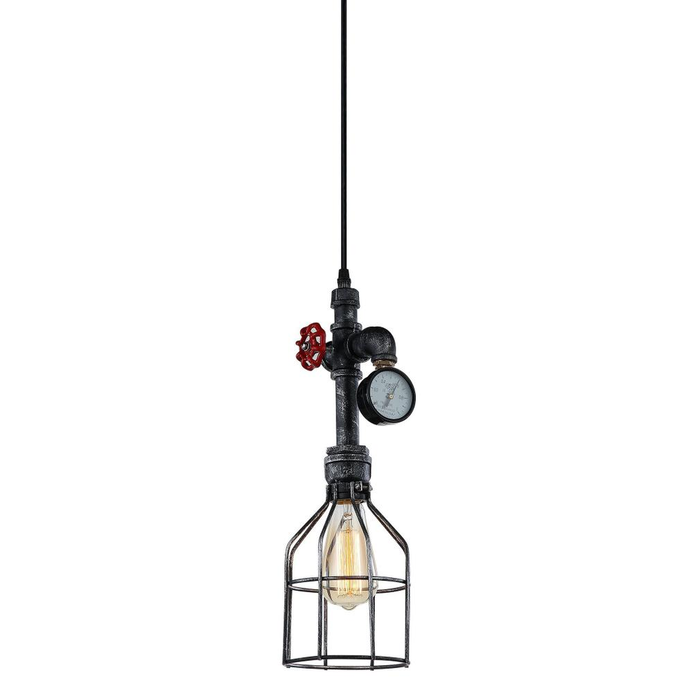 Luminaire Industrial Black Cage Pendant with Gauge