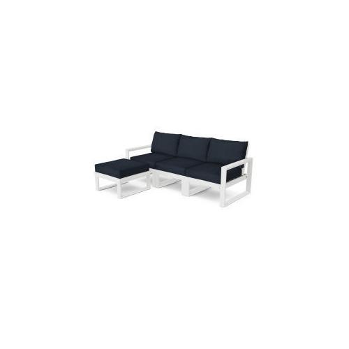 Polywood Furnishings - EDGE 4-Piece Modular Deep Seating Set with Ottoman in White / Marine Indigo