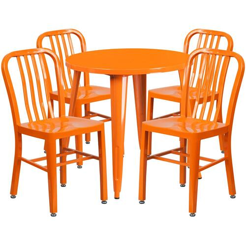 30'' Round Orange Metal Indoor-Outdoor Table Set with 4 Vertical Slat Back Chairs