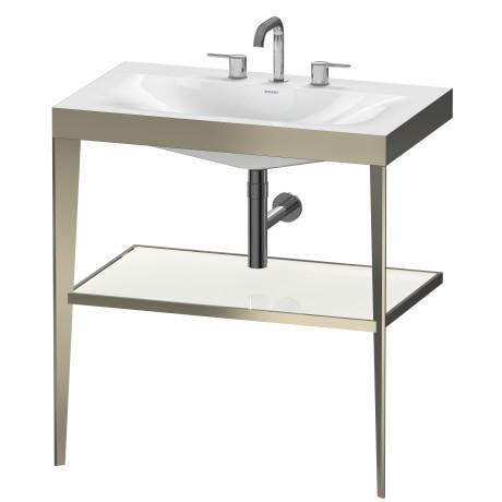 Furniture Washbasin C-bonded With Metal Console Floorstanding, White High Gloss (lacquer)