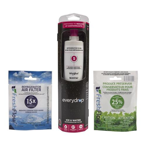 everydrop® Refrigerator Water Filter 5- EDR5RXD1 (Pack of 1) + Refrigerator FreshFlow Air Filter + FreshFlow Produce Preserver Refill