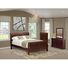 West Furniture Louis Philippe 4 Piece Queen Size Bedroom Set in Phillip Walnut Finish with Queen Bed, ,Dresser, Mirror,Chest