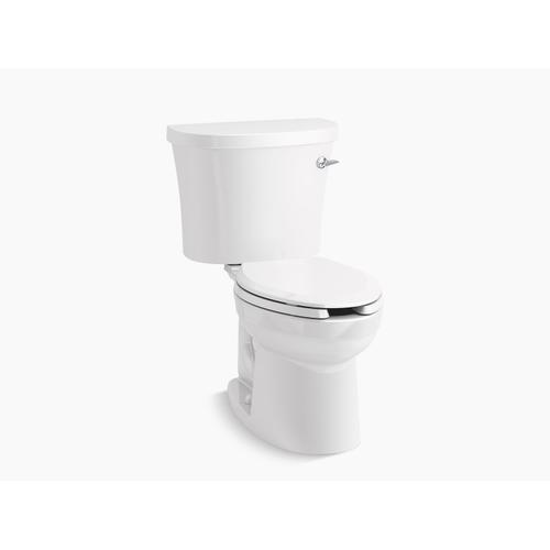 White Two-piece Elongated 1.28 Gpf Toilet With Class Five Flushing Technology and Right-hand Trip Lever, Seat Not Included