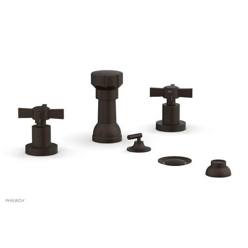BASIC Four Hole Bidet Set - Blade Cross Handles D4137 - Antique Bronze