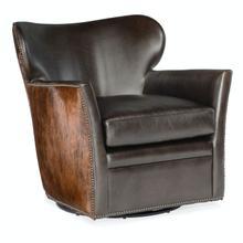 Living Room Kato Leather Swivel Chair w/ Dark HOH