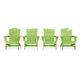 Polywood Furnishings - Wave Collection 4-Piece Adirondack Chair Set in Vintage Lime