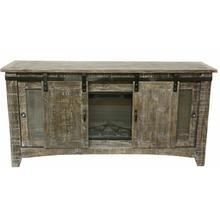"""See Details - 70"""" Barnwood Barn Door Tv/fireplace"""