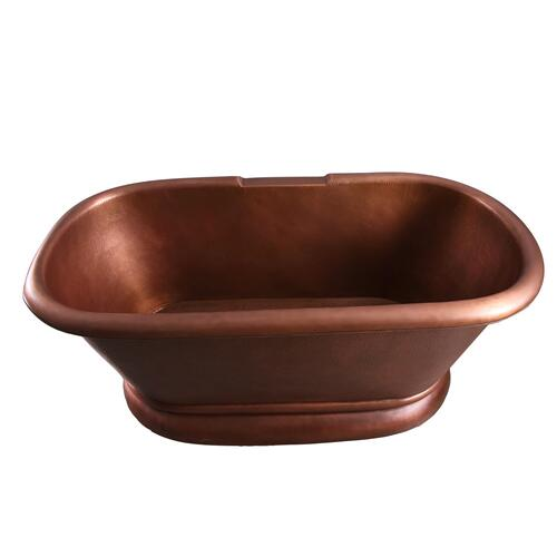 "Reedley 61"" Copper Double Roll Top Tub - Tap Deck - 7"" Rim Holes"