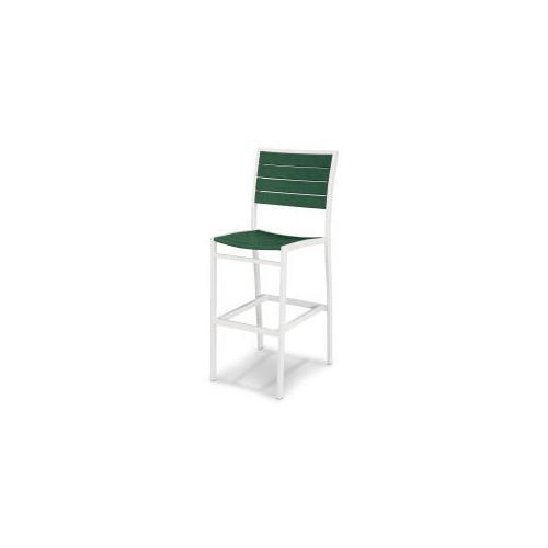 Polywood Furnishings - Eurou2122 Bar Side Chair in Satin White / Green