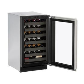 """18"""" Wine Refrigerator With Stainless Frame Finish and Left-hand Hinge Door Swing (115 V/60 Hz Volts /60 Hz Hz)"""