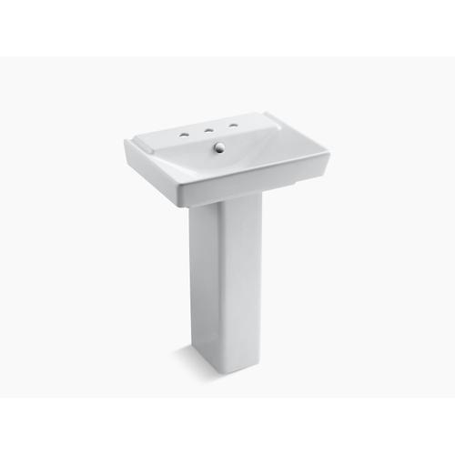"""White 23"""" Pedestal Bathroom Sink With 8"""" Widespread Faucet Holes"""