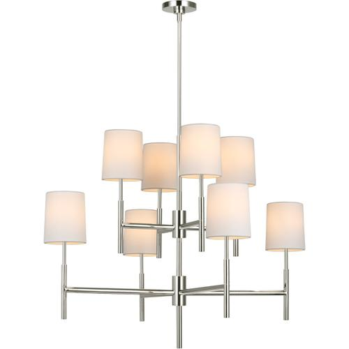 Barbara Barry Clarion LED 37 inch Polished Nickel Two Tier Chandelier Ceiling Light, Large