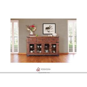 """See Details - 70"""" Console 3 drawer, 4 Glass Doors"""