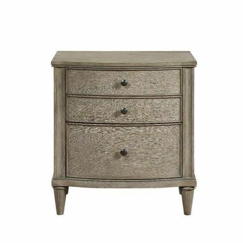 ACME Wynsor II Nightstand - 27733 - Transitional - Wood (Pine/Poplar), Wood Veneer (Oak), MDF,PB - White-Washed