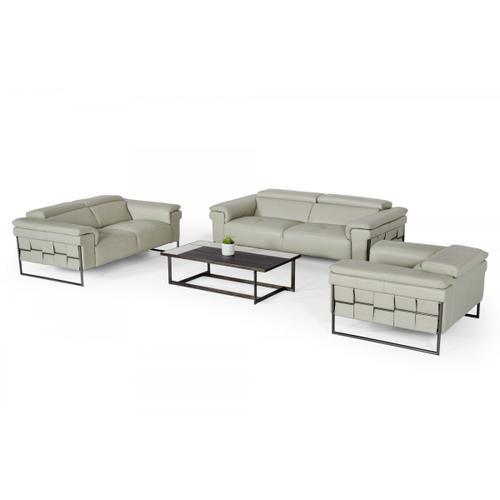 VIG Furniture - Divani Casa Shoden - Modern Light Grey Leather Sofa