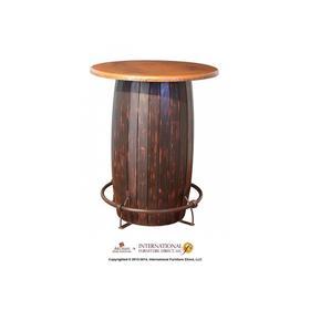 See Details - Bistro Table Base w/Footrest, Black Finish Barrel Design