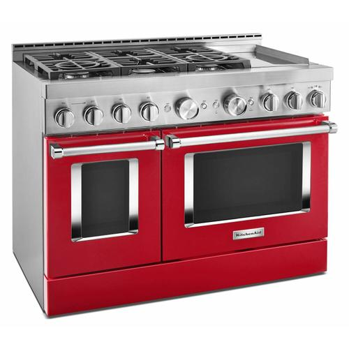 KitchenAid - KitchenAid® 48'' Smart Commercial-Style Gas Range with Griddle - Passion Red