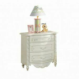 ACME Pearl Nightstand - 01013 - Pearl White & Gold Brush Accent