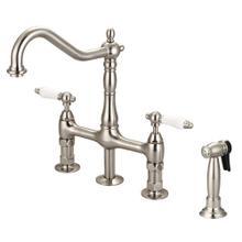 See Details - Emral Kitchen Bridge Faucet with Porcelain Lever Handles - Brushed Nickel