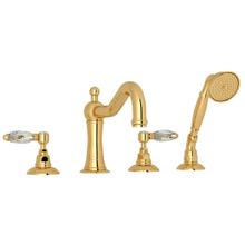 See Details - Acqui 4-Hole Deck Mount Column Spout Tub Filler with Handshower - Italian Brass with Crystal Metal Lever Handle
