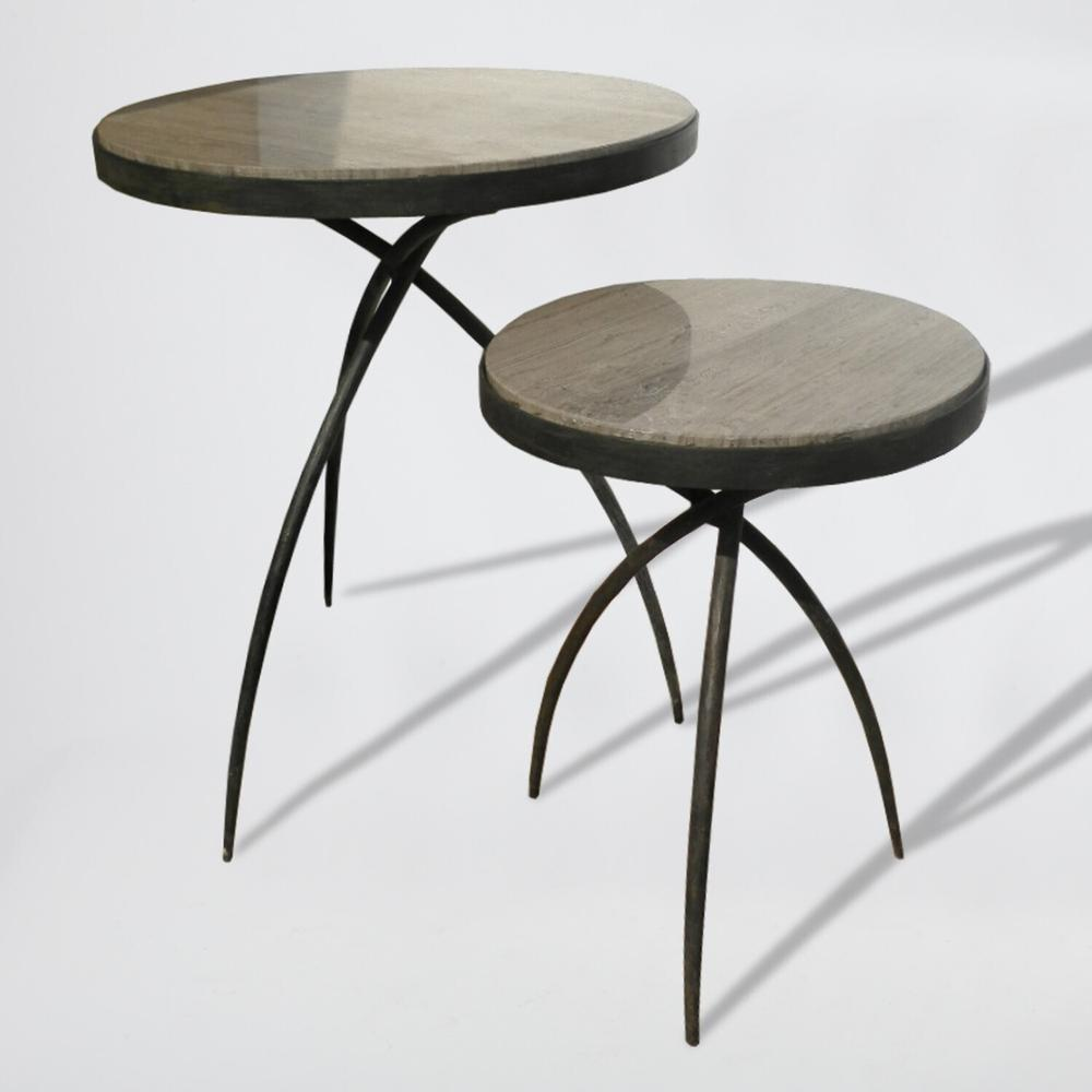 See Details - Tripod Table w/Grey Marble Top-Lg