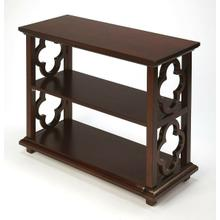 See Details - With its open quatrefoil sides, two shelves and open back, this timeless, classic bookcase brings heirloom appeal to the office or living room. Features an inviting Plantation Cherry finish.