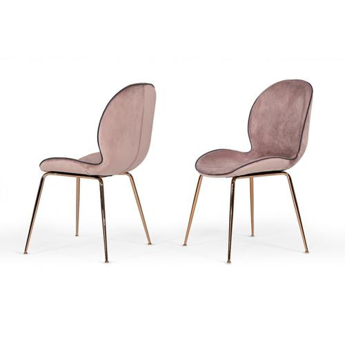VIG Furniture - Modrest Wendy Modern Pink Velvet & Rosegold Dining Chair (Set of 2)