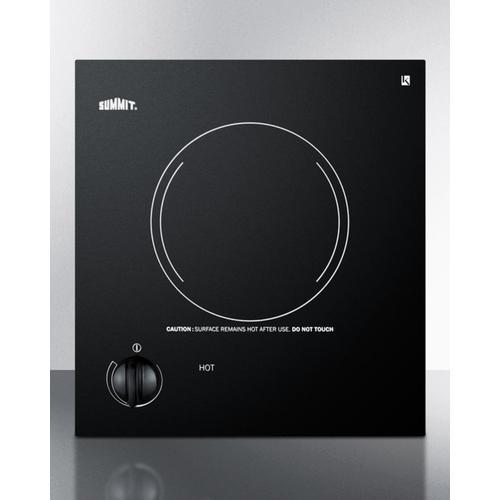 Summit - 115v Single Burner Cooktop In Black Ceramic Glass, Made In Europe