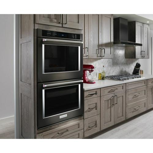 """KitchenAid Black Stainless - 30"""" Double Wall Oven with Even-Heat™ True Convection - Black Stainless Steel with PrintShield™ Finish"""