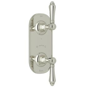 1/2 Inch Thermostatic and Diverter Control Trim - Polished Nickel with Metal Lever Handle