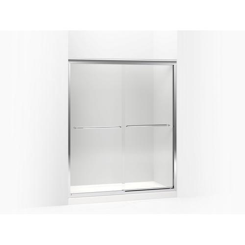 """Crystal Clear Glass With Anodized Brushed Bronze Frame Sliding Shower Door, 70-5/16"""" H X 56-5/8 - 59-5/8"""" W, With 3/8"""" Thick Crystal Clear Glass"""