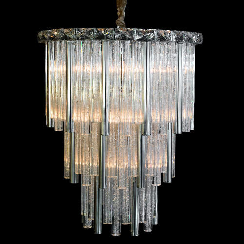 Chimes 10 Light Chandelier 2 PC Set Silver
