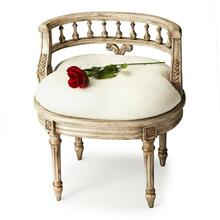 See Details - This elegant hand painted vanity seat adds formal elegance to any powder or dressing room. Hand crafted from poplar hardwood solids and wood products, it features a carved solid wood back and legs. The generously-sized, upholstered seat cushion is covered in an ivory cotton hobnail fabric.