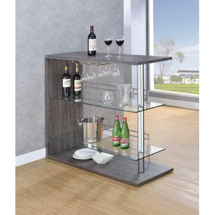 See Details - Two-shelf Contemporary Weathered Grey Bar Table