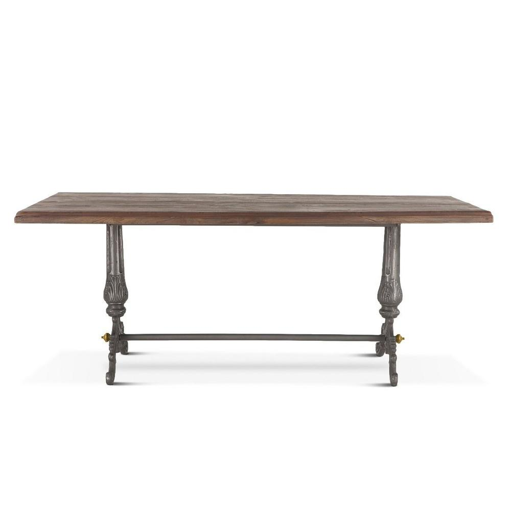 """French Vintage 76"""" Dining Table Weathered Gray"""