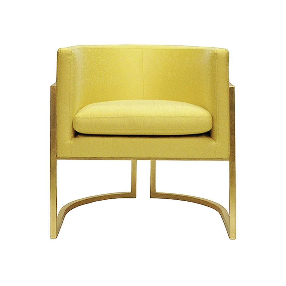 This Mid-century Modern, Barrel-back Arm Chair Dazzles From Every Angle. arcing Metal Frame Is Beautifully Finished In Gold Leaf, and Bright and Lively Citron Upholstery Brings an Air of Optimism To Your Living Space. Perfect for the Dining Room, or Pair as Occasional Chairs In Your Keeping Room. Jenna Is A Charmer In Any SETTING.