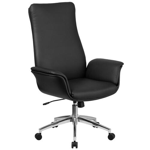 High Back Black Leather Executive Executive Swivel Chair with Flared Arms