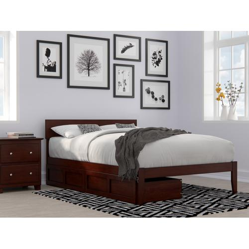 Boston Full Bed with 2 Drawers in Walnut