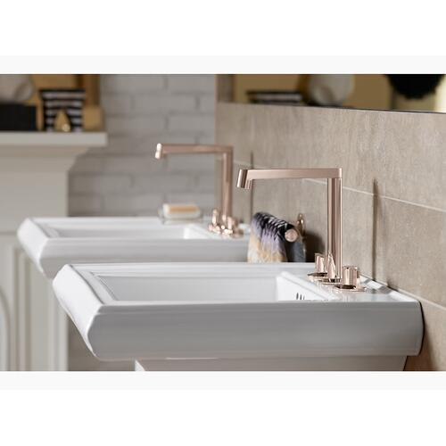 "Ice Grey Classic 24"" Pedestal Bathroom Sink With 8"" Widespread Faucet Holes"