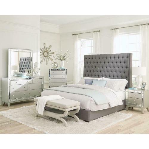 Camille Grey Upholstered California King Bed