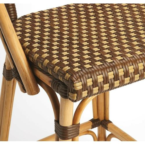 Butler Specialty Company - Evoking images of sidewalk tables in the Cote d'Azur, barstools like this will give your kitchen or patio the casual sophistication of a Mediterranean coastal bistro. Skillfully crafted from thick bent rattan for superb durability, it features weather resistant woven plastic in an inviting brown and white carrie pattern. This barstool is lightweight for easy mobility with comfort to make the space it's in a frequent gathering place.