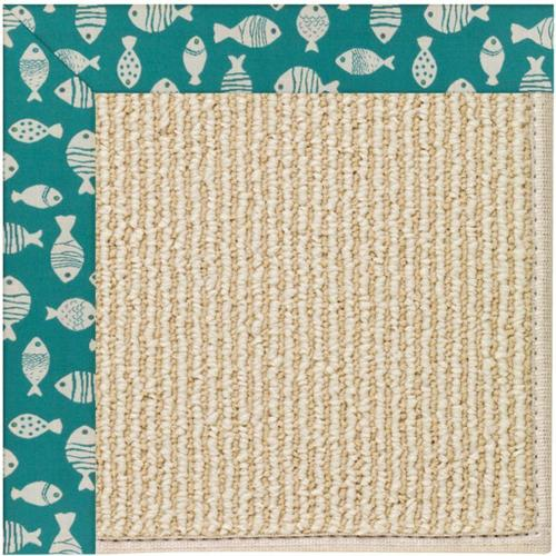 "Creative Concepts-Beach Sisal Go Fish Turquoise - Rectangle - 24"" x 36"""