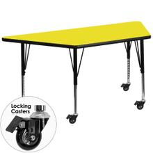 Mobile 25''W x 45''L Trapezoid Yellow HP Laminate Activity Table - Height Adjustable Short Legs