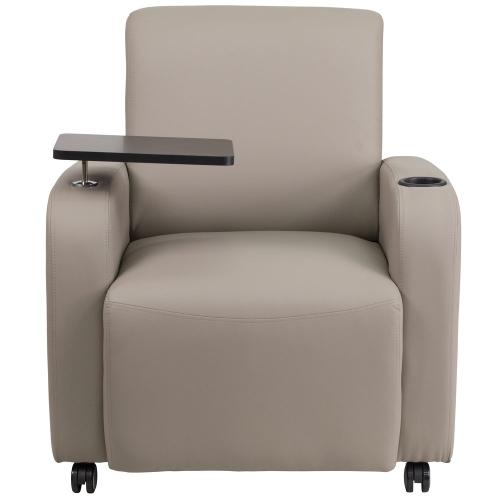 Alamont Furniture - Gray Leather Guest Chair with Tablet Arm, Front Wheel Casters and Cup Holder