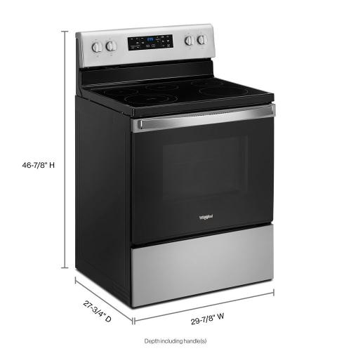 "Whirlpool 30"" 5.3CF Stainless Steel Electric range with Frozen Bake technology"